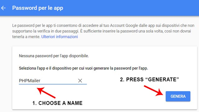 2-step app password generation