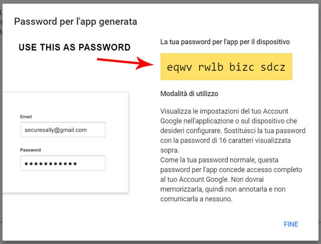 2-step app password example