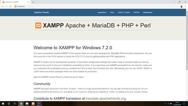 XAMPP homepage